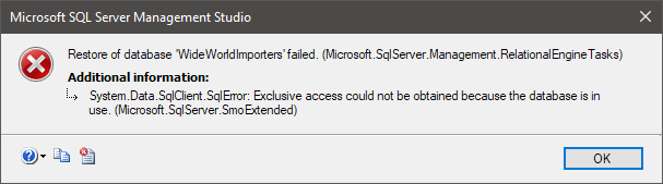 Database Restore Failed: Could Not Obtain Exclusive Access